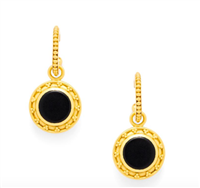 gold hoop earrings with reversible charm black onyx and pearl
