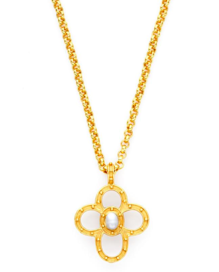 Julie vos caspian quatrefoil pendant necklace preppy jewelry alternative views aloadofball Choice Image