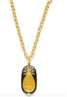 reversible ladies gold pendant with carved pineapples and a small freshwater pearl