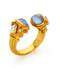 Gold ring with chalcedony blue stones, and rose cut pearls on the side