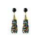 ladies pierced earrings with 10mm onyx stud with multi colored beads in a tassel