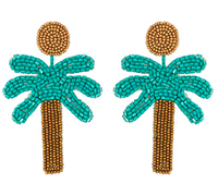 Green sea bead palm tree post earrings - safety harbor florida