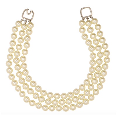 3 row white faux pearl necklace