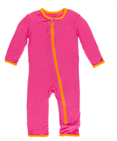 pink bamboo coverall with orange trim