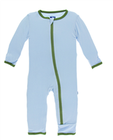 light blue bamboo coverall with green trim