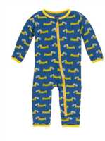 zipper front baby coverall with sports balls all over it