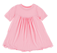 toddle bamboo swing dress with ruffle trim in pink