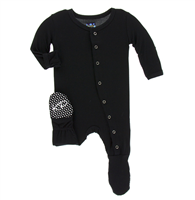 bamboo snap front footie in black