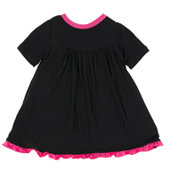 black swing dress with hot pink trim