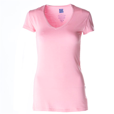 kickee pants ladies short sleeve v-neck bamboo t-shirt in pink