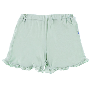 mint green ruffle trim elastic waist baby shorts