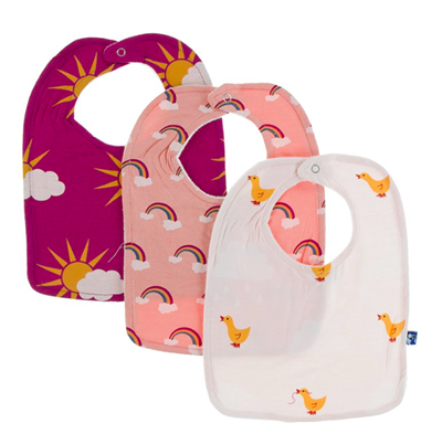 baby 3 bib set- berry partial sun/blush rainbow/macaroon puddle duck