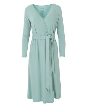 lades tie front robe in mint green