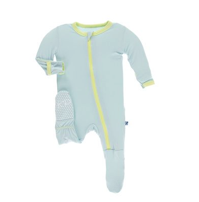 baby footie pajamas in mint with yellow trim