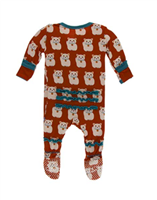 lucky cat footed pajamas with ruffles on the butt