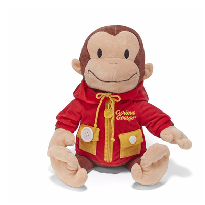 14 inch Curious George Learn to Dress Stuffed Animal