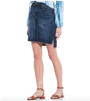 Women's stretch denim skirt with hi low hem
