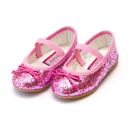 baby flat shoes in hot pink glitter