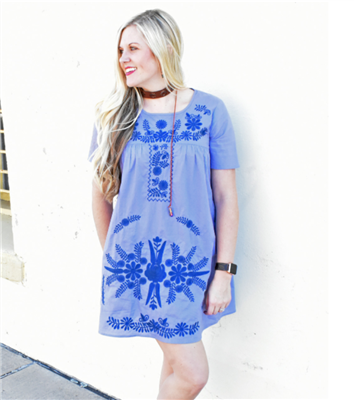 Ladies blue embroidered short sleeve dress