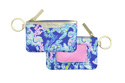 "Ladies Lilly Pulitzer ID case in ""Turtle Villa"" print."