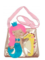 little girls gold purse with a mermaid on it