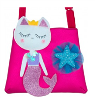 little girls hot pink purse with a kitty mermaid on it