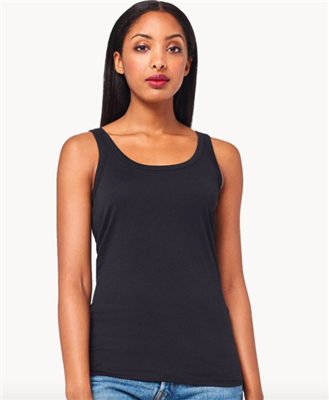 ladies black cotton scoop neck tank top