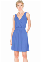 ladies blue knit cross front tank dress