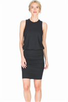 ladies black ruched tank dress