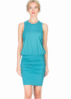 ladies aqua green ruched tank dress