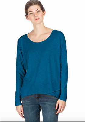 Long Sleeve cotton tee in sapphire