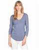 Ladies shale blue 3/4 sleeve neck cotton slub t-shirt