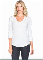 Ladies white 3/4 sleeve neck cotton slub t-shirt