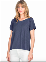 Ladies short sleeve pleat back tee in a cotton modal mix in navy
