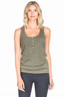 Ladies kale green 3/4 tank top with 5 buttons down the front