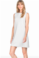 ladies knit dress in nickel with boat neck and rib trim hemline