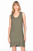 ladies knit dress in kale green with a hi low hem and front seam detail