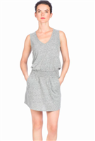 gray knit tank dress with a smocked waist