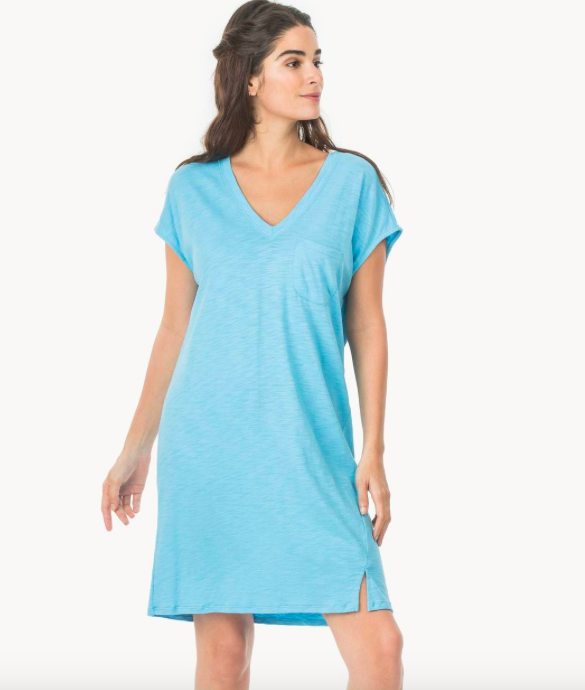 3bd667fe8 Lilla P Blue Double V- Neck Dress - Seersucker Sassy Boutique