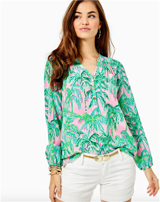 "Ladies Lilly Pulitzer Elsa top in ""Suite Views"" print."