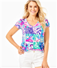 "Ladies Lilly Pulitzer short sleeve v-neck cotton top in ""Patch to Match"" print."