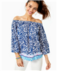 Ladies Lilly Pulitzer Print Off The Shoulder Bell Top