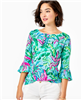 "Ladies Lilly Pulitzer Fontaine top with bell sleeve in ""In the Trees"" print."