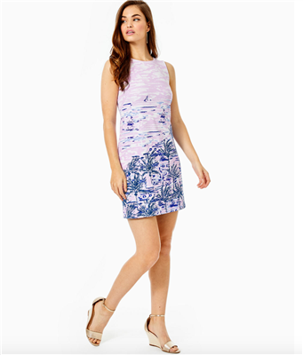 "Ladies Lilly Pulitzer Gellar Shift Dress in ""On the Horizon"" print."