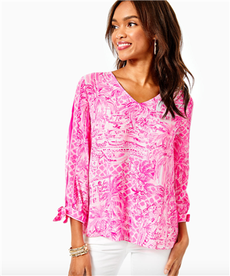 "Ladies Lilly Pulitzer Pamala top in ""Palm Beach Paradise"" print."