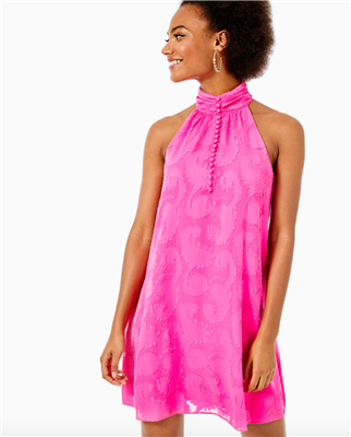 Ladies Lilly Pulitzer Kristine Halter Dress in Pink Tango.