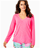 Ladies Lilly Pulitzer Etta long sleeve v-neck t-shirt in Karmic Coral.