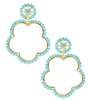 Aqua earrings that are 3 inches shaped like a flower