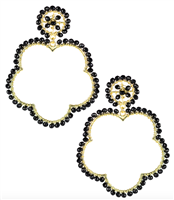 Black earrings that are 3 inches shaped like a flower