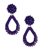 navy bead earrings that are an oval and 2 inches long